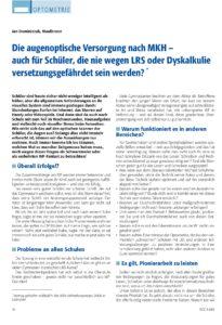 Veröffentlichung Jan Dominiczak Die augenoptische Versorgung nach MKH auch für Schüler die nie wegen LRS oder Dyskalkulie versetzungsgefährdet sein werden