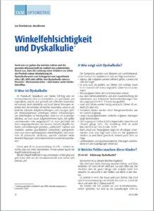Veröffentlichung Jan Dominiczak Winkelfehlsichtigkeit und Dyskalkulie